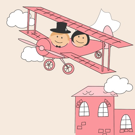 Wedding invitation with  funny bride and groom on airplane  Vector