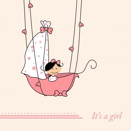 Baby girl arrival announcement retro card Vector