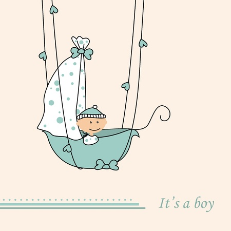 Baby boy arrival announcement retro card Vector