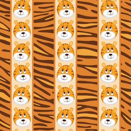African seamless patterns with cute tiger and tiger skin. Vector