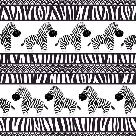 African seamless patterns with cute zebra and zebra skin. Vector