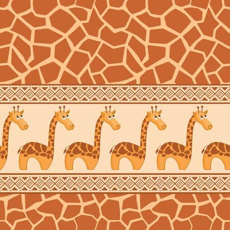 African seamless patterns with cute giraffe and giraffe skin. Stock Vector - 9931949