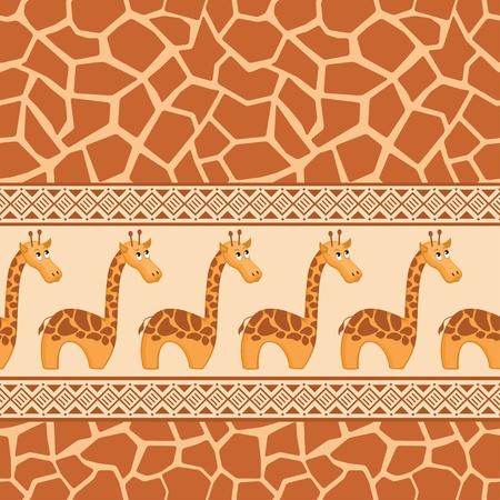 African seamless patterns with cute giraffe and giraffe skin. Vector