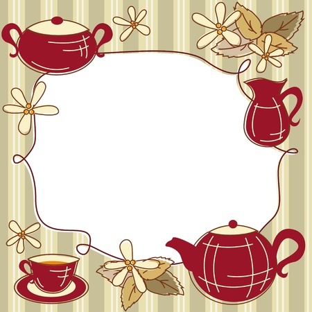 teapot: Menu сard with teapot, cup of tea and place for text Illustration