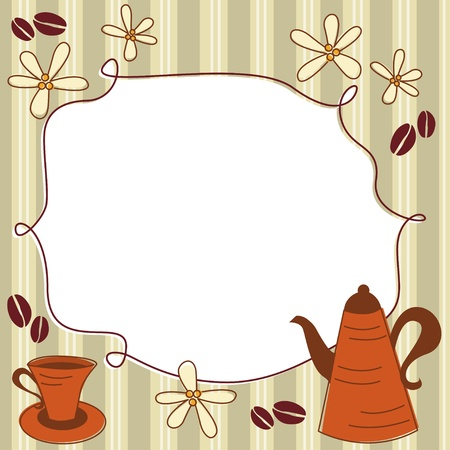 Card with coffee pot, cup and place for text Vector