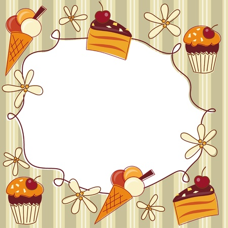 Greeting card with cupcake, cake and ice cream Vector