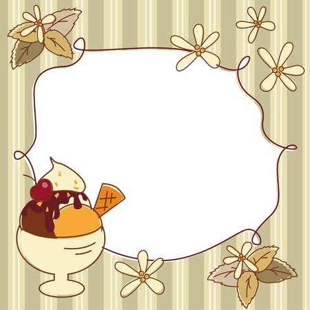 ard: Menu сard with ice cream, vanilla flowers and leaf of mint Illustration