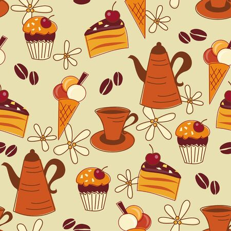 Seamless pattern with coffee, cupcake, cake and ice cream