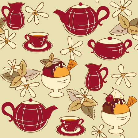 Seamless pattern with teepot, cup of  tea and dessert Vector