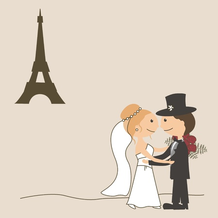 Wedding invitation with  funny bride and groom and Eiffel Tower Vector