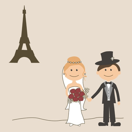 bride groom: Wedding invitation with  funny bride and groom and Eiffel Tower