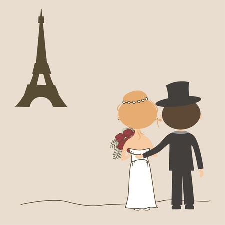 Wedding invitation with funny bride and groom and Eiffel Tower