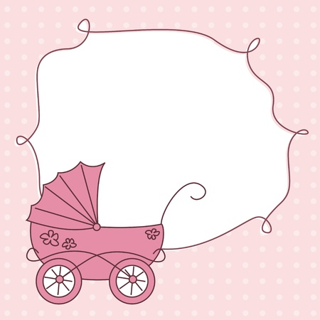 stroller: Baby girl arrival announcement retro card
