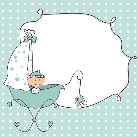 buggy: Baby boy arrival announcement retro card