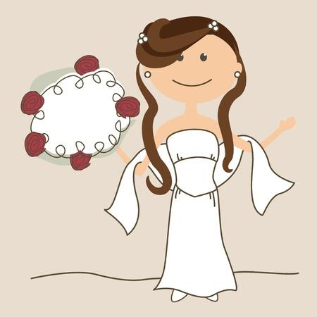 bridal party: Wedding invitation with bride Illustration