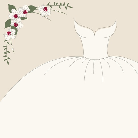 bridal party: Vintage wedding invitation, background with dress and bouquet of orchids