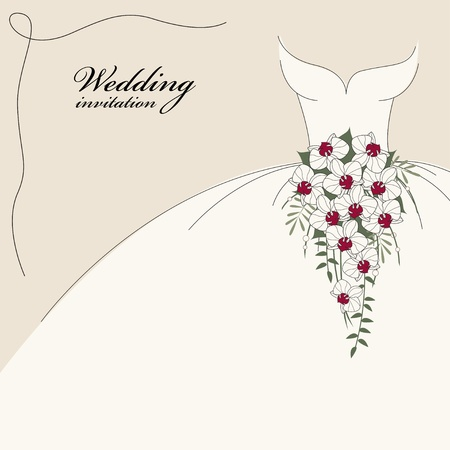 bridal party: Vintage wedding invitation, background with dress and cascade bouquet of orchids Illustration