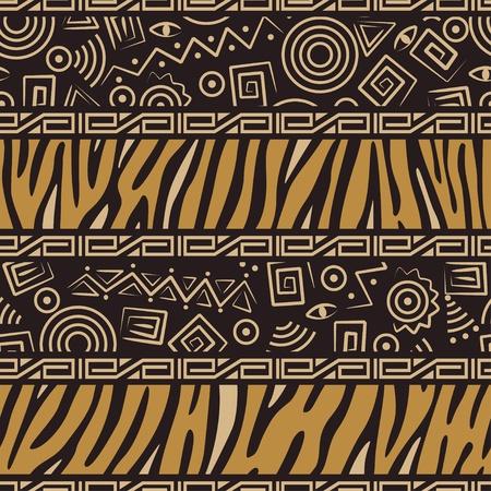этнический: Стильный африканских бесшовные шаблон с тигром кожи и древние украшения Иллюстрация