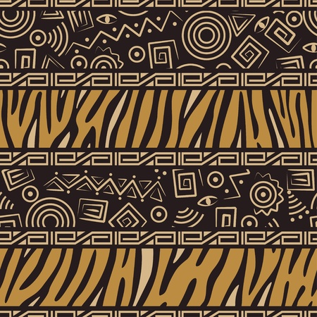 Stylish  African seamless pattern with tiger skin and ancient ornament Vector