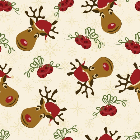 Christmas seamless pattern with Deer and bells Vector