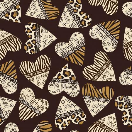 animal print: Elegante sfondo trasparente con cuori (pelle mammifero selvatico e ornamento antico)