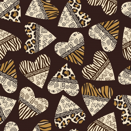 tribe: Stylish seamless background with hearts ( wild mammal skin and ancient ornament )