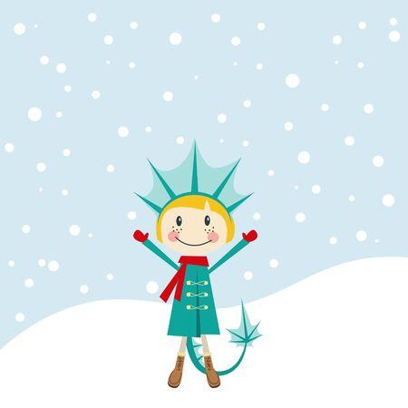 christmas dragon: Christmas and New Years greeting card with girl girl dressed as a dragon