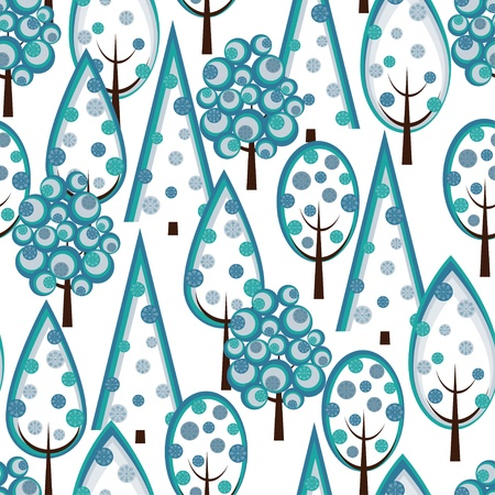 yuletide: Christmas pattern seamless with decorated green Christmas tree. Illustration