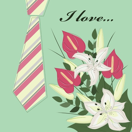 Father Day greeting card with flowers Vector