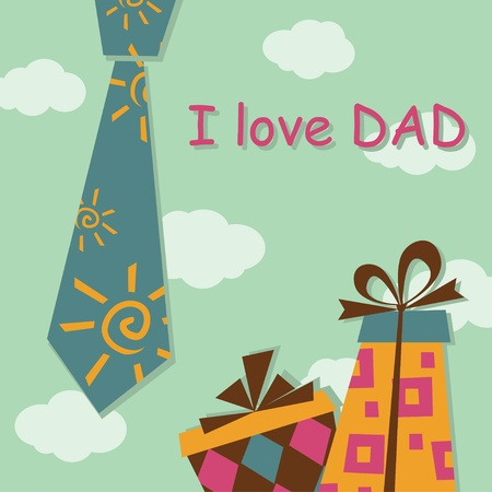 Father Day greeting card with present Stock Vector - 12480340