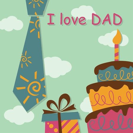 Father Day greeting card with present and cake