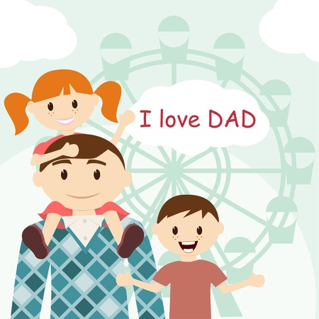 mixed family: Father s Day card Illustration