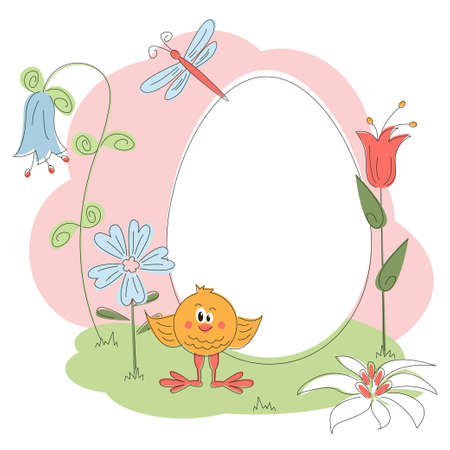 Easter greeting card with chicken and flowers Stock Vector - 12480355