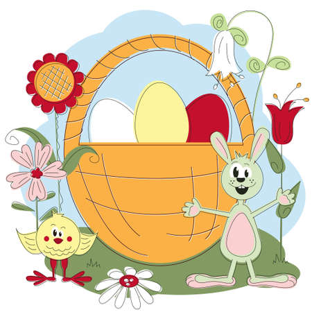 Easter greeting card with chicken , rabbit and flowers Vector