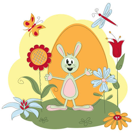 Easter greeting card with rabbit and flowers Stock Vector - 12480357