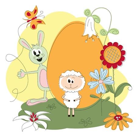 pasen schaap: Pasen wenskaart met vrolijke konijn en lam