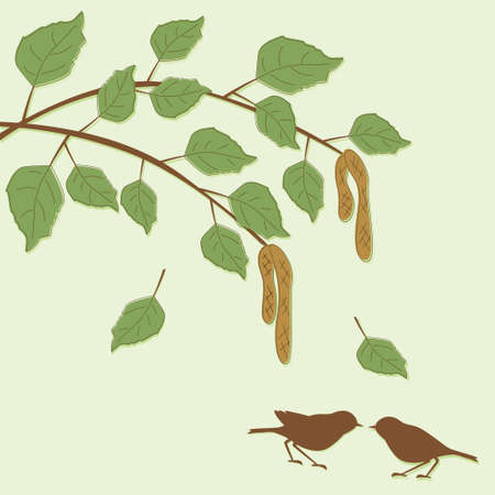 Easter Card with branch , eggs and birds Vector