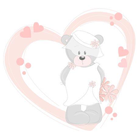 Wedding Invitation with little cute teddy bear Vector