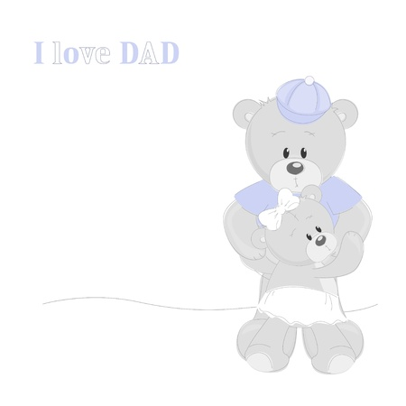 Father s Day card with Teddy Bears Vector