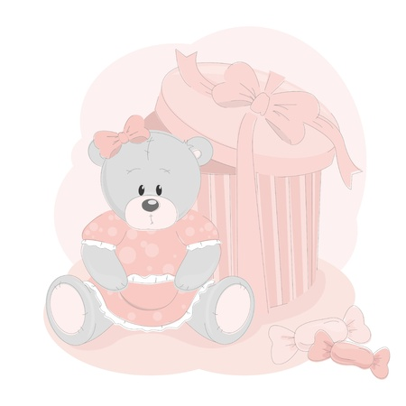 stuffed animals: Baby greetings card with teddy bear