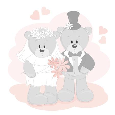 vintage teddy bears: Wedding invitation with cute Teddy Bears