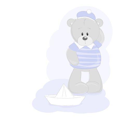 Teddy Bear and paper ship Vector