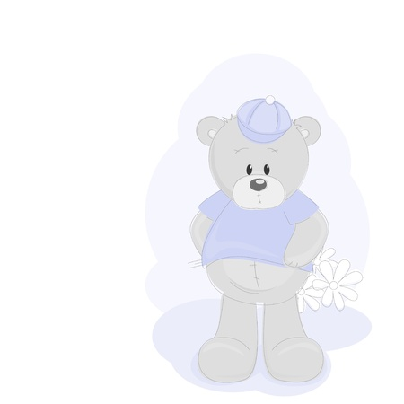 Teddy Bear and flowers Vector