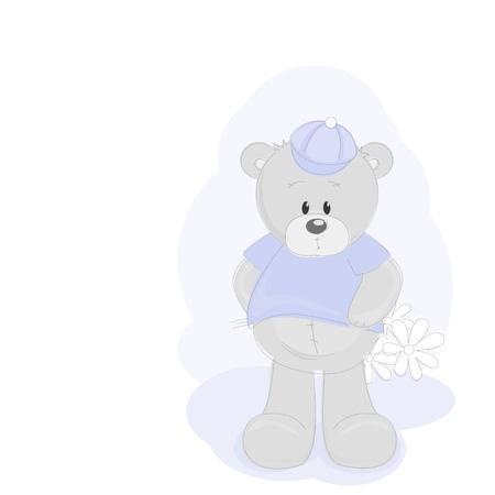 Teddy Bear and flowers Vector