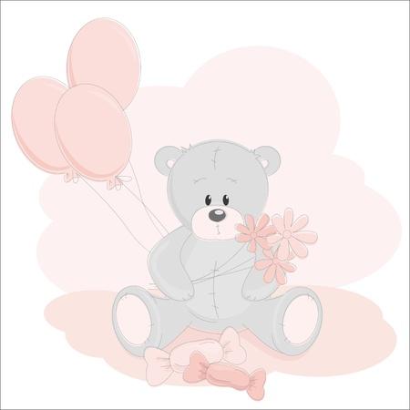 Greetings card with Teddy Bear Vector