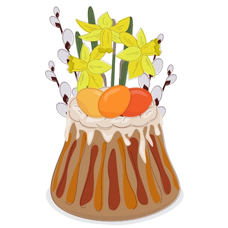 Easter Card with Easter cake, eggs and spring flowers Stock Vector - 12965767