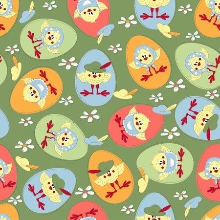 Easter seamless pattern with cartoon chicken Vector