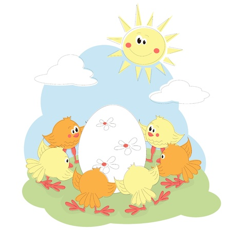 Easter greeting card with cartoon chicken Stock Vector - 12965772