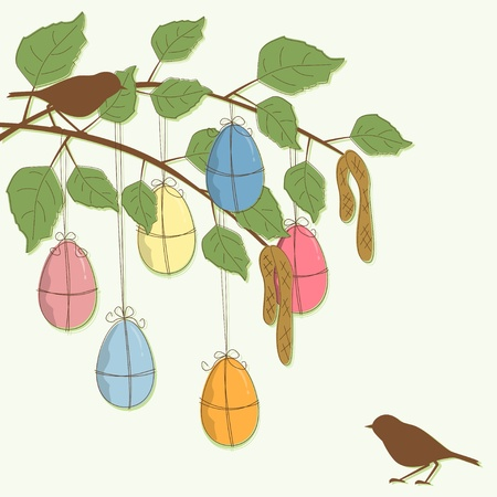Easter Card with branch, eggs and birds Vector