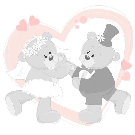 osos de peluche: Invitaci�n de la boda con el baile osos de peluche lindos Vectores